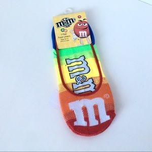 Accessories - New M&M Foot liner socks unisex Sz 9-11 Rainbow